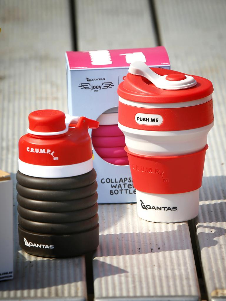 Qantas reached out to Crumple owners Irina and Lilly Stesin six months ago to design a Qantas-range of Crumple cups and bottles.