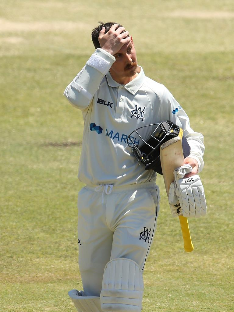 Nic Maddinson walks from the field after being dismissed in the Sheffield Shield.