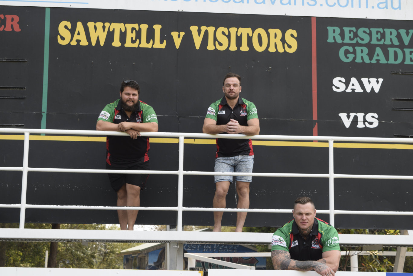 PLANNING AHEAD: New Sawtell Panthers captain-coach Dan Kilian (front) with first grade manager Beau Klaassen and co-captain Joey Cudmore.
