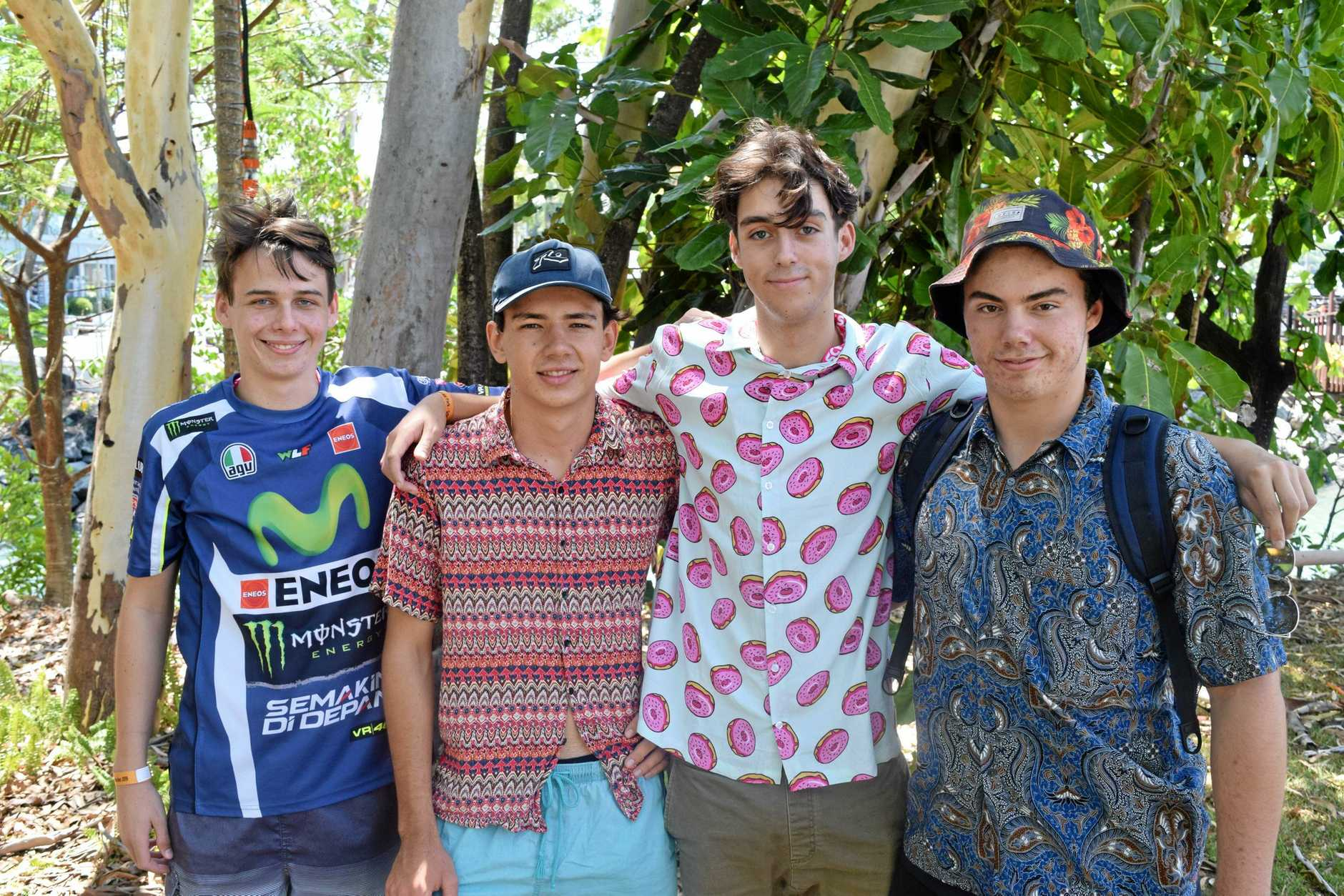 Proserpine's Rossi Warrilow, Ned Sleight, Jamie Jones-Woodward and Jaspa Hope are attending Schoolies in Airlie Beach.