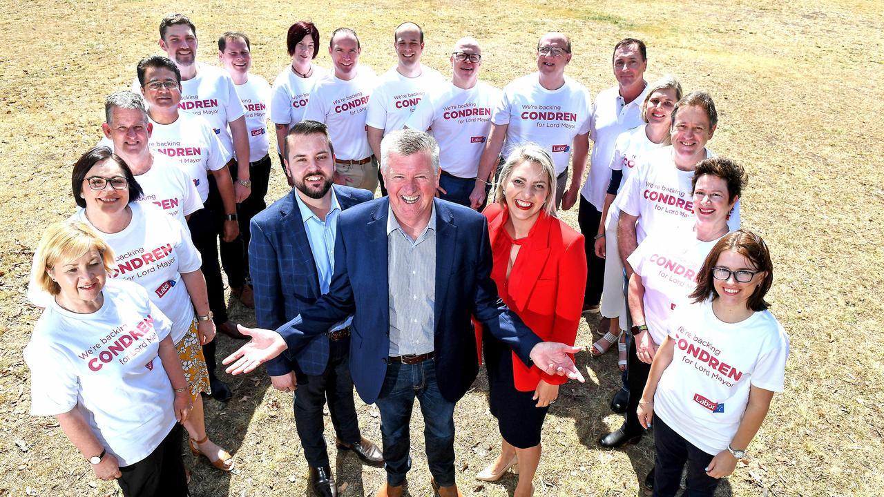Labor lord mayoral candidate Patrick Condren holds his first press conference, with councillors Jared Cassidy and Kara Cook. Picture: AAP image, John Gass