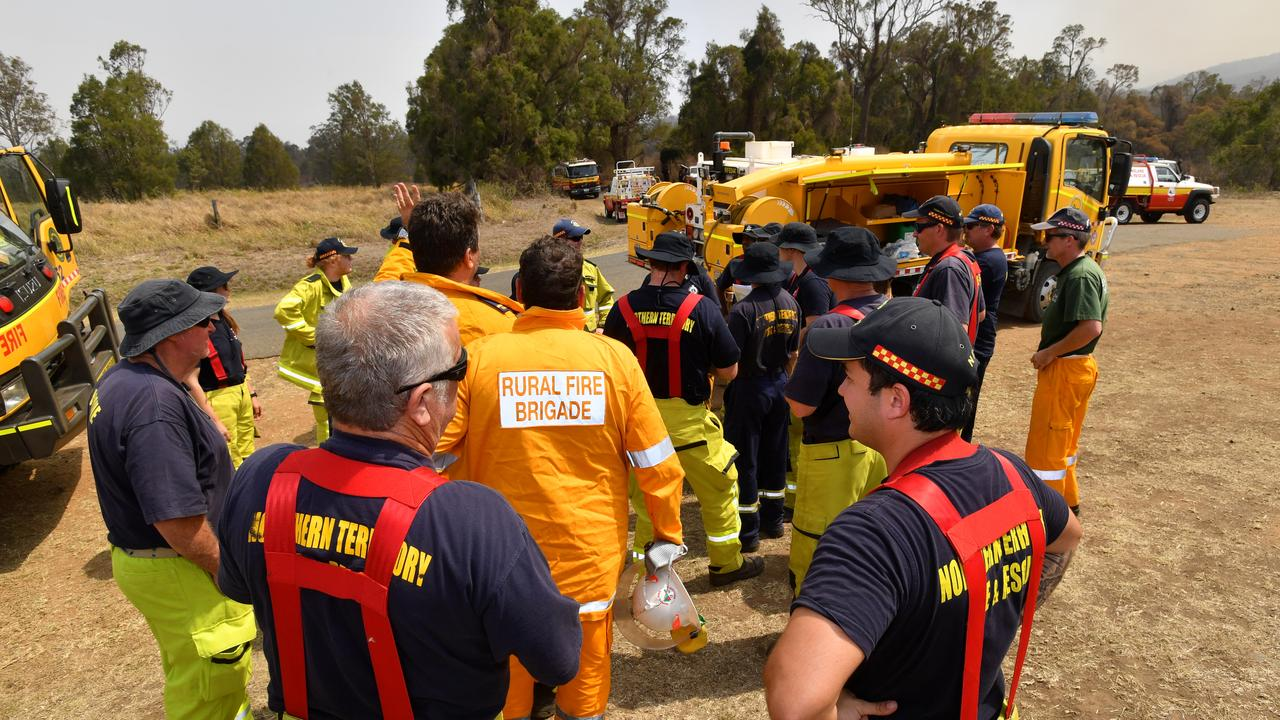 Rural firefighters preparing to fight fires at Spicers Gap. Picture: AAP Image/Darren England)