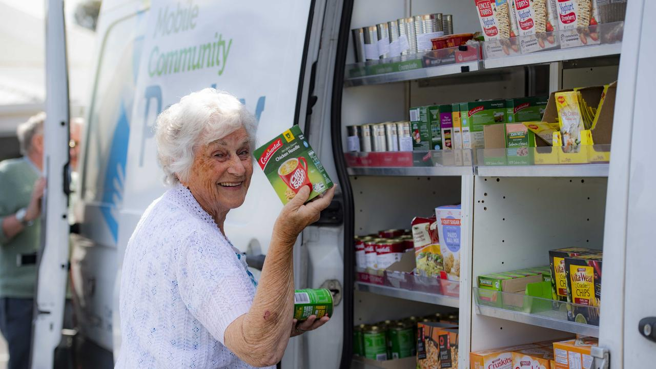 The drought is affecting Foodbank's ability to stock its warehouse and keep distribution points like Anglicare's mobile community pantry full of staples. Picture: Supplied
