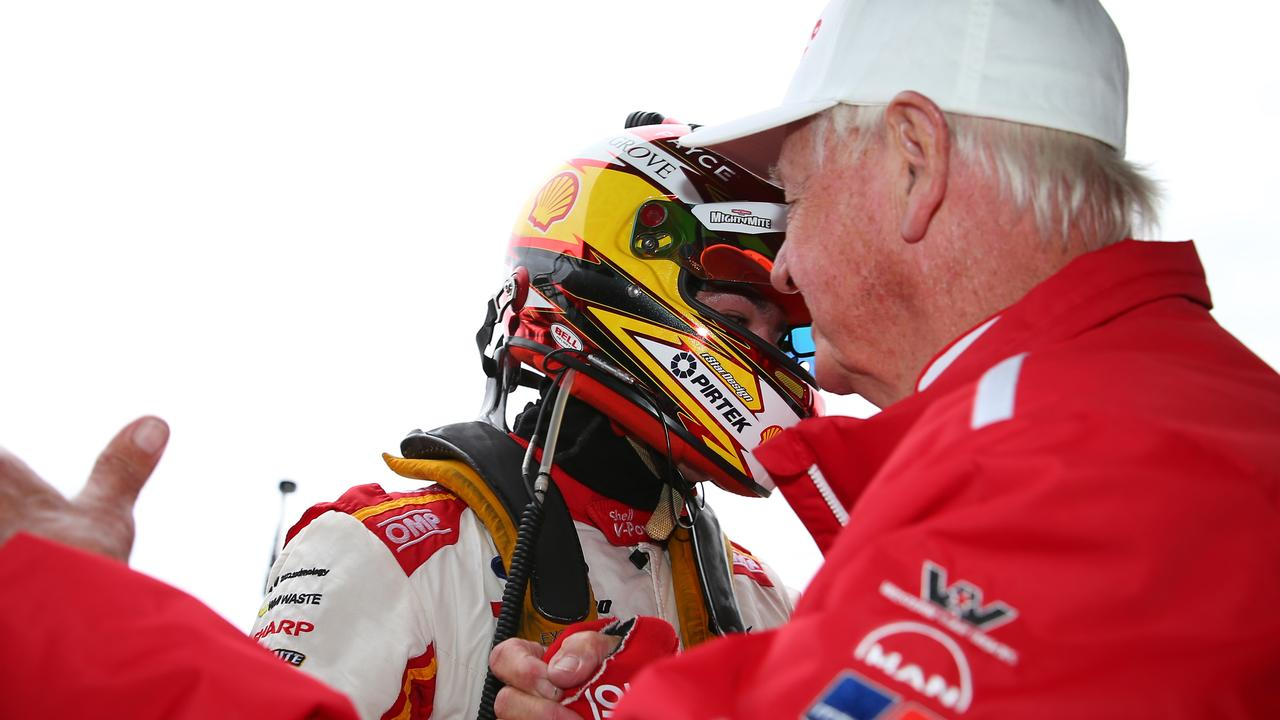 Scott McLaughlin shakes hands with Dick Johnson after clinching the 2019 Supercars title after the Sandown 500.