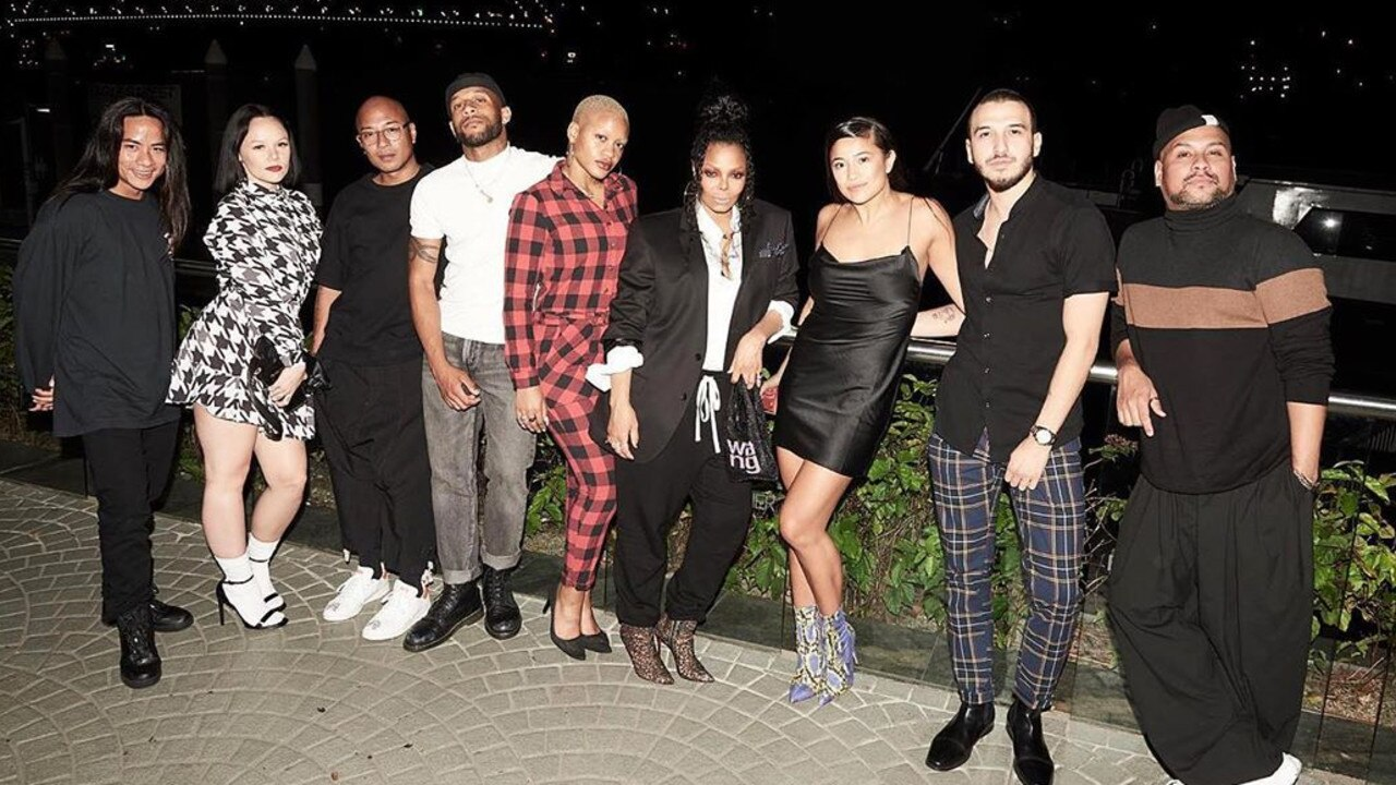 Janet Jackson with her dance entourage in Brisbane on Tuesday night. Photo: Instagram