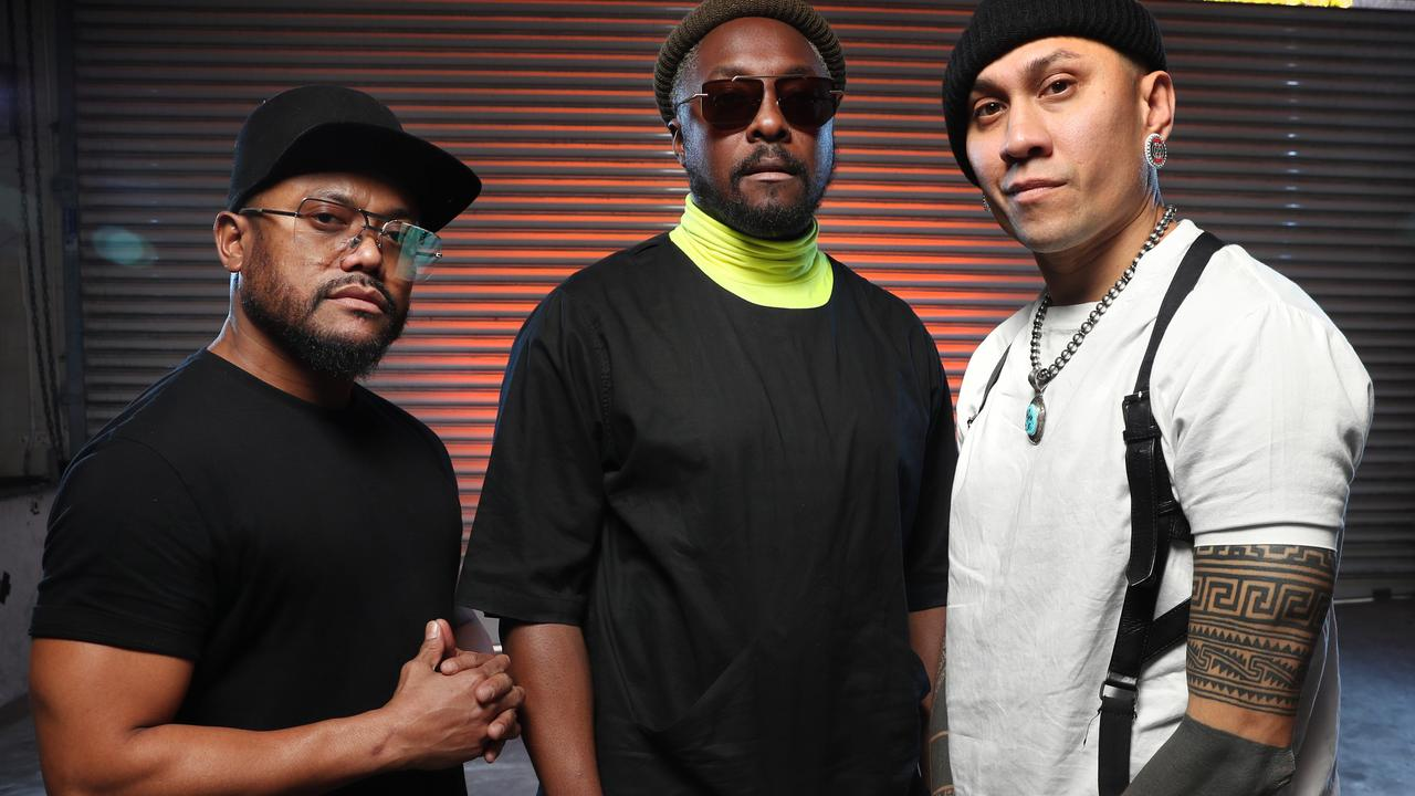 Black Eyed Peas members at Sony Music's head office in Sydney. Will.i.am is in the centre. Picture: Richard Dobson