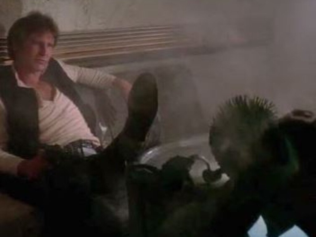 Greedo has gone from legendary figure to figure of fun in a series of scene rewrites. Picture: YouTube
