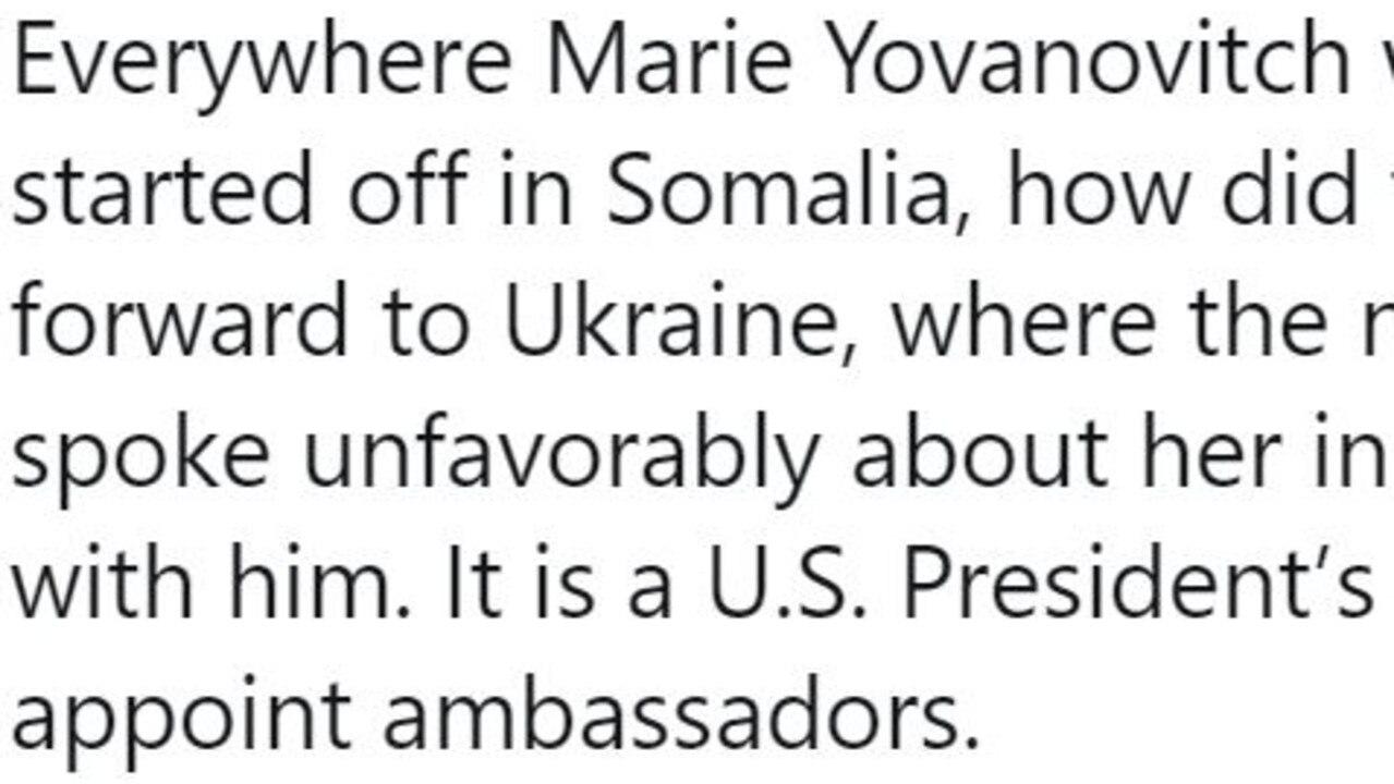 Donald Trump's tweet about Yovanovitch.