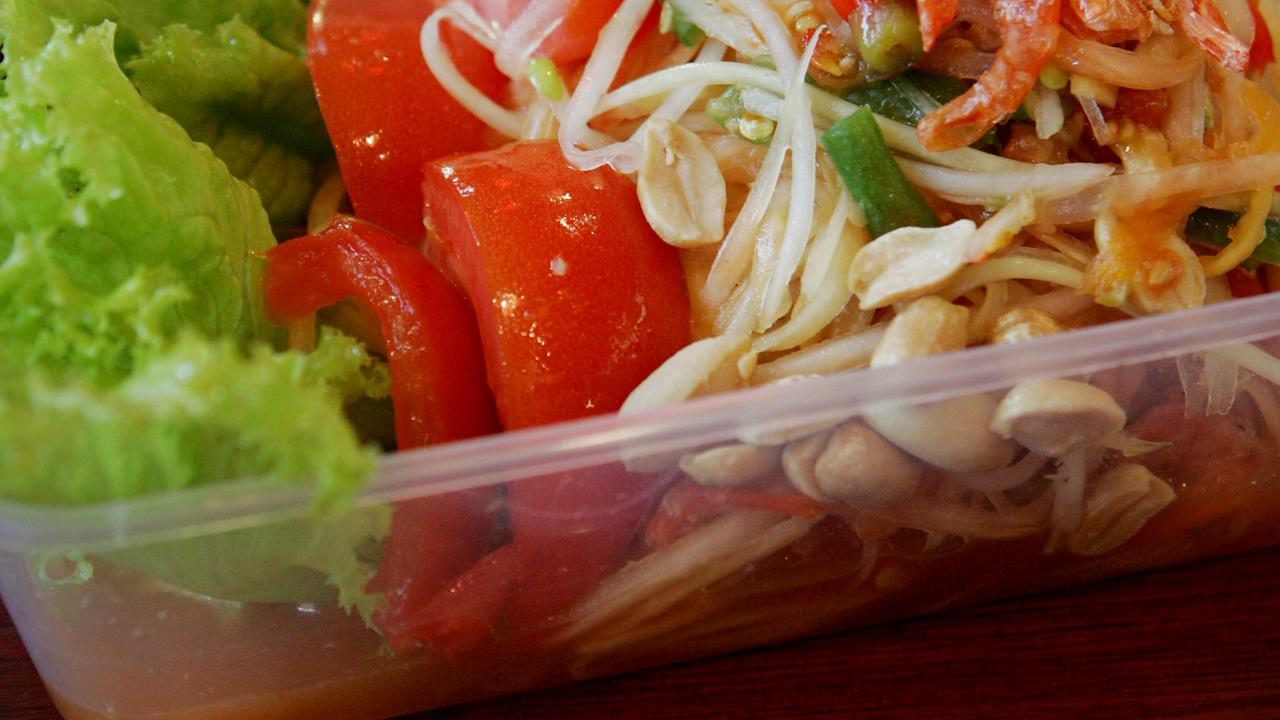 Reheating food in plastic takeaway containers is not recommended. Picture: Jeff Camden