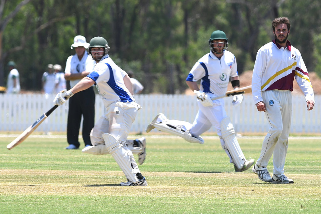 Image for sale: CRICKET CQ CHAMPIONSHIPS: Rockhampton's Trent and Lachlan Batley at bat and Central Highlands' Damon Gale