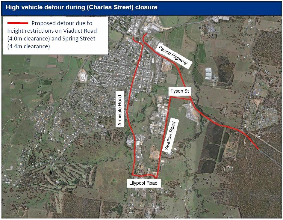 RIGHT: The proposed route for heavy/high vehicles during the Charles St closure is via Tyson St, Swallow Rd and Lilypool Rd.