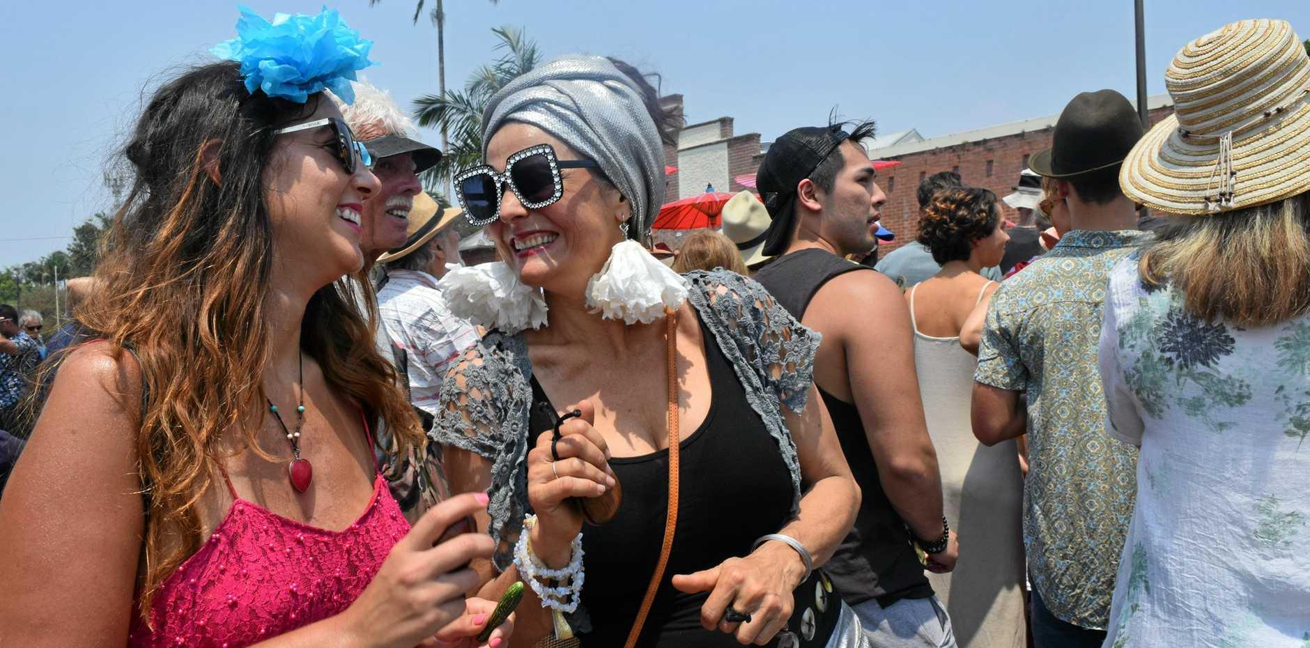 Mullumbimby resident Sharon Shostak brought her friend Spraya Amate (left) from Spain to the experience Mullum Music Festival 2019.