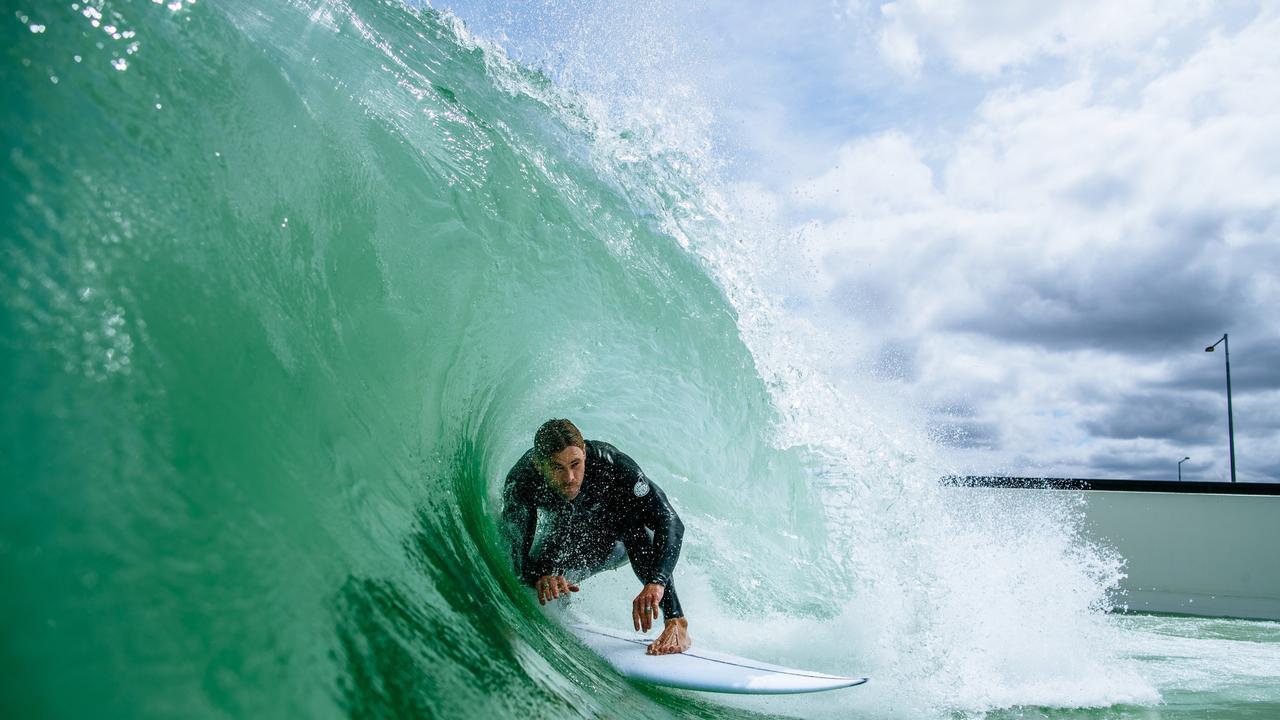 Chris Hemsworth testing out Melbourne's surf park. Picture: Ed Sloane/UrbnSurf
