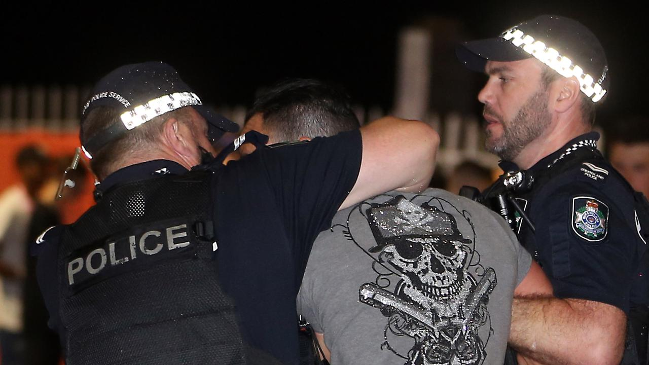 Police had a busy night on the Gold Coast during schoolies 2019. 16th November 2019 Surfers Paradise AAP Image/Richard Gosling