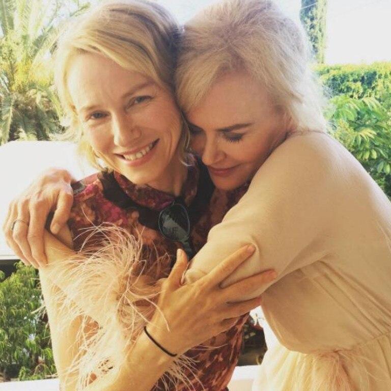 Lifelong friends Naomi Watts (left) and Kidman cosy up.
