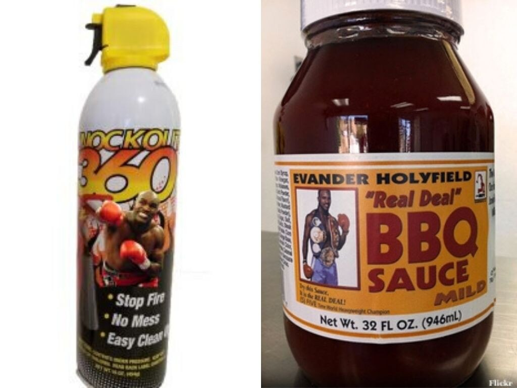 Evander Holyfield's failed products include the Knockout 360 fire extinguisher and