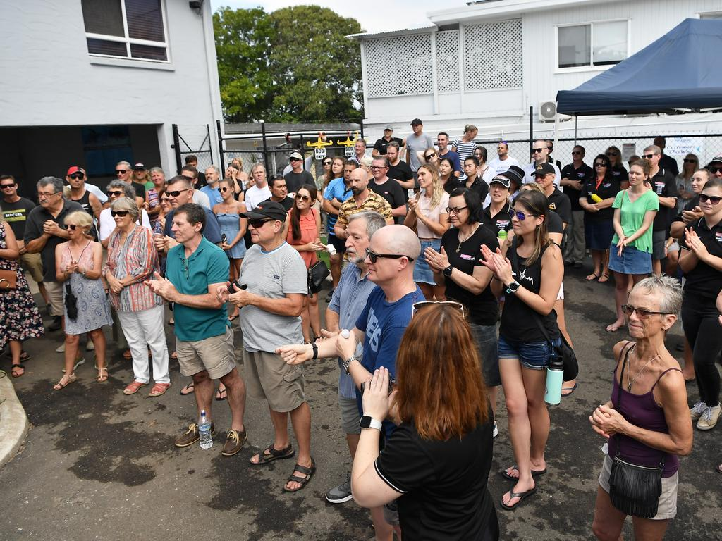 The community celebrating the grand opening yesterday. Photo Patrick Woods / Sunshine Coast Daily.