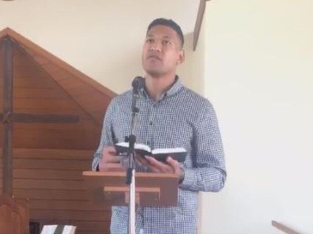 Israel Folau preaches at his church.