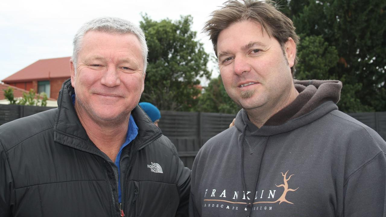 The Block's landscaper, Dave Franklin (left) with presenter and The Block star Scott Cam. Picture: Facebook