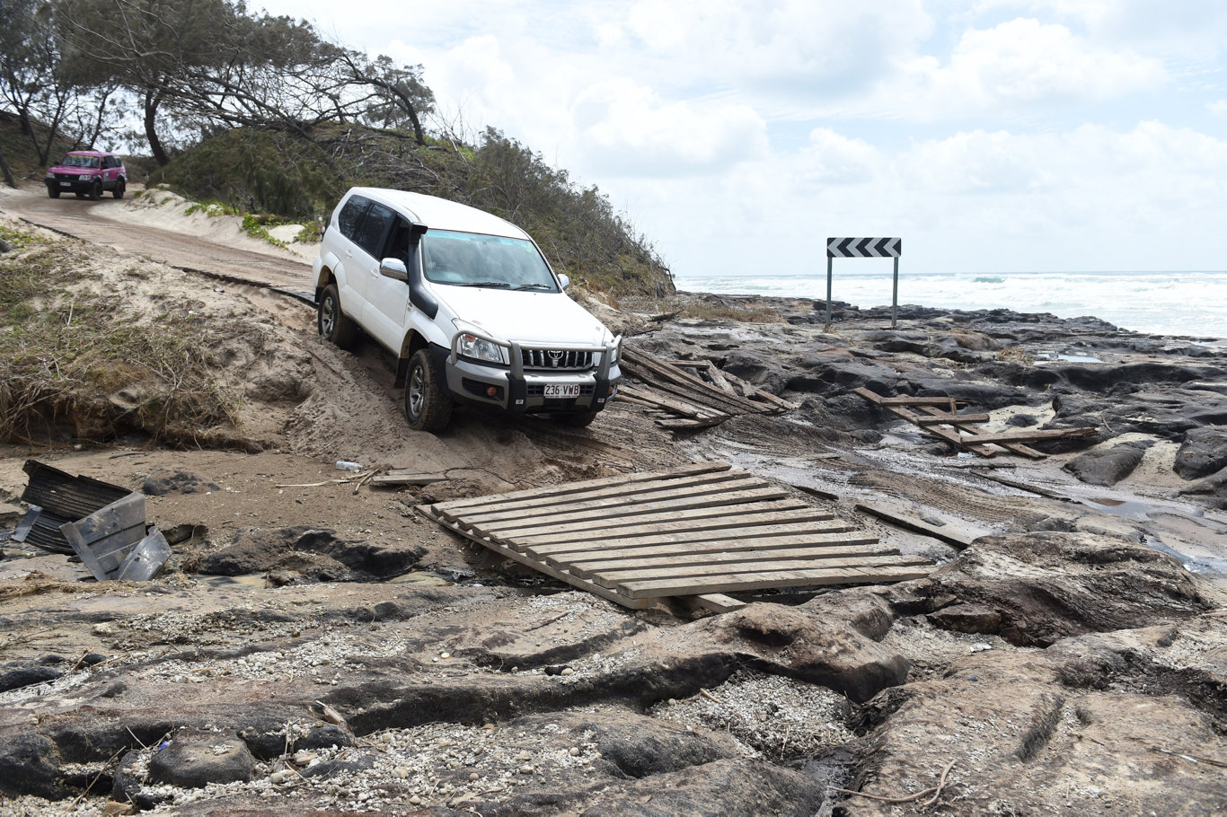 Driving on Fraser Island at Poyungan Rocks after a cyclone earlier this year.