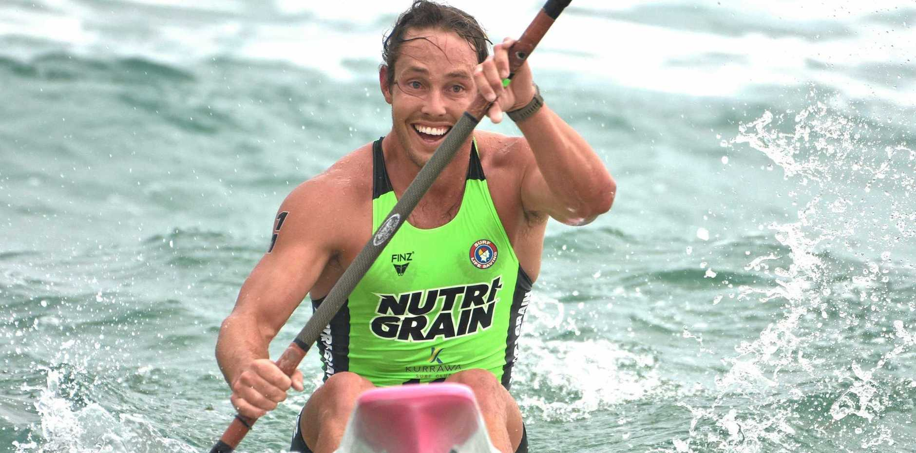 ALL SMILES: Tanyn Lyndon on his way to finishing second in the Nutri-Grain IronMan Series event at Burleigh Heads on Sunday.