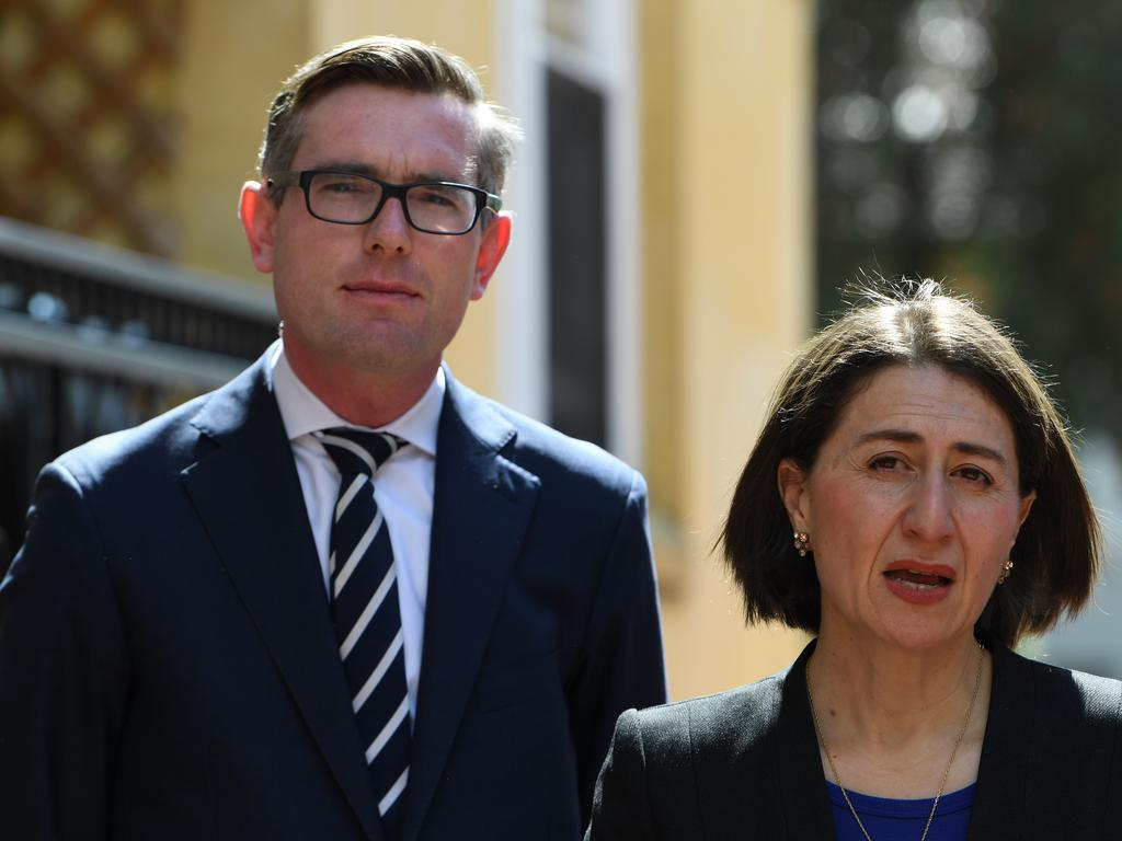Treasurer Dominic Perrottet and Premier Gladys Berejiklian have asked the Commonwealth to bring forward crucial funding to assist the state in getting the Sydney Metro West and the Sydney Metro Greater West moving. Picture: AAP/Dean Lewins