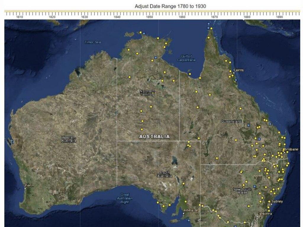 The University of Newcastle's Aboriginal massacre map.