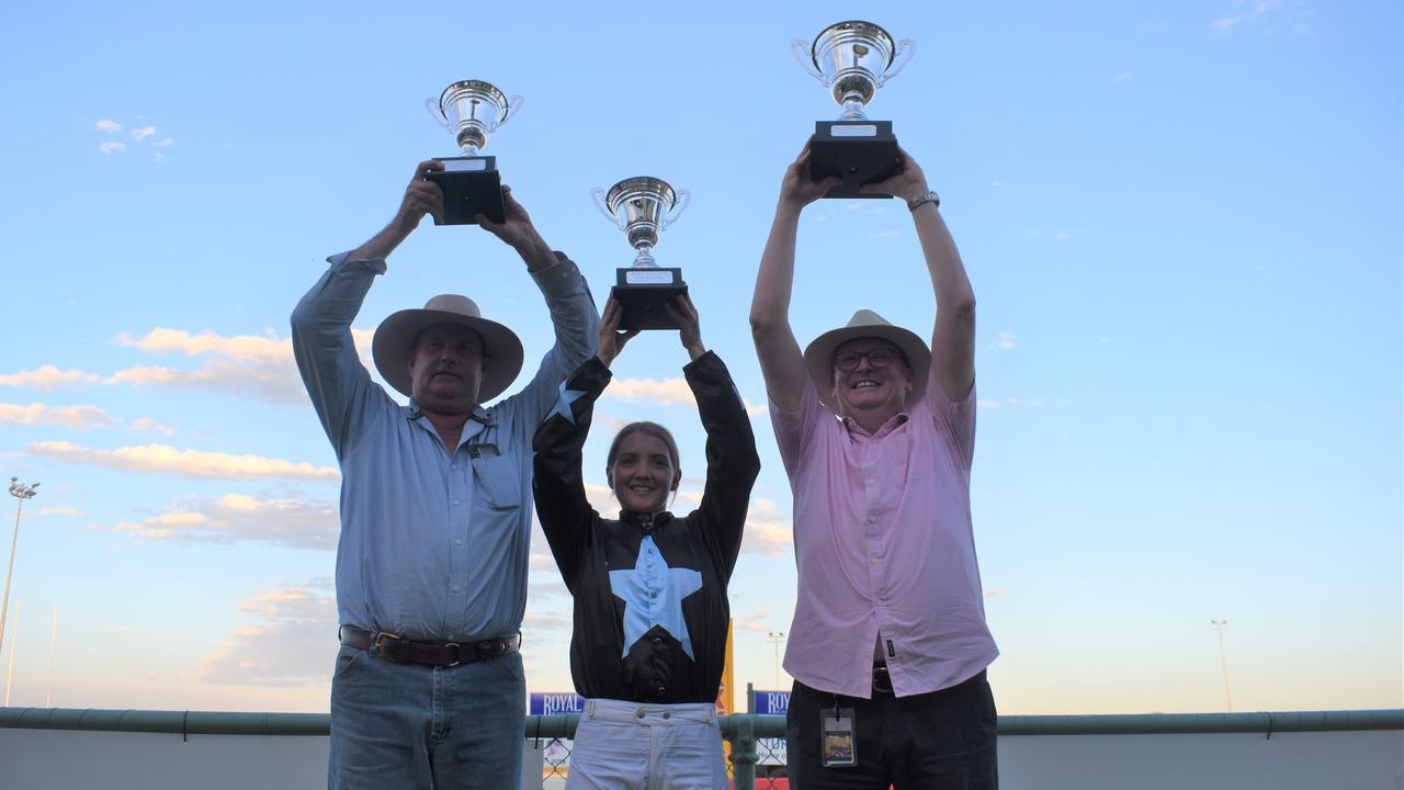 Atouchmore's trainer Matt Kropp, jockey Brooke Richardson, and owner David Silva.
