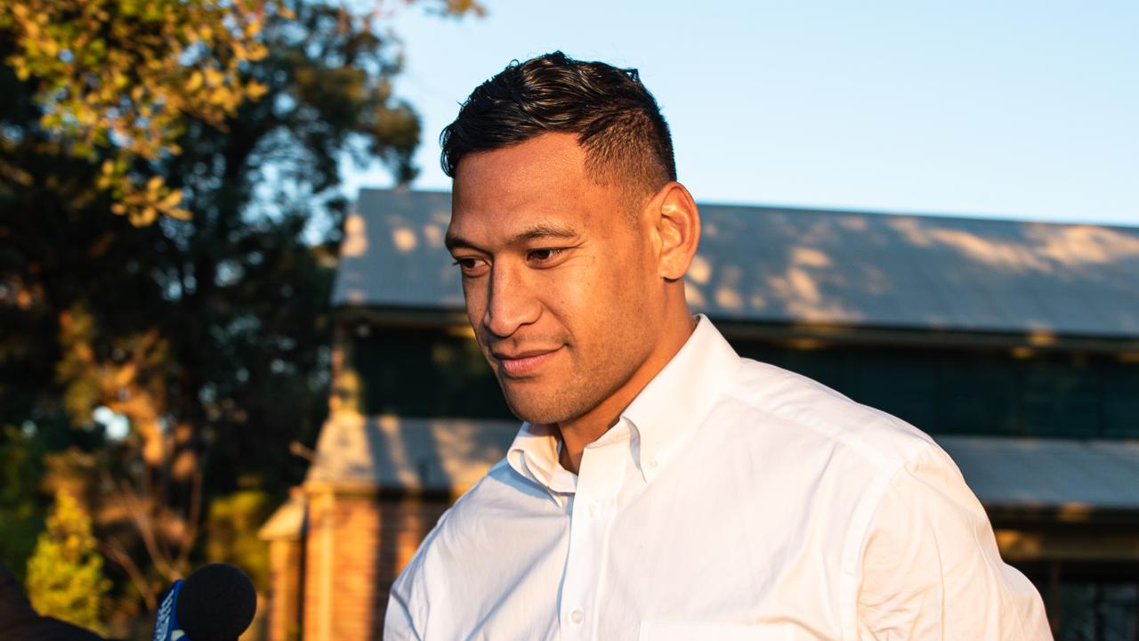 Israel Folau leaving the Kenthurst Uniting Church. Picture: Daily Telegraph/Flavio Brancaleone
