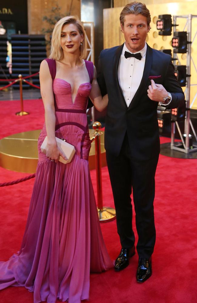 Richie Strahan and Alex Nation arrive at the 59th Annual Logie Awards. Picture: Getty