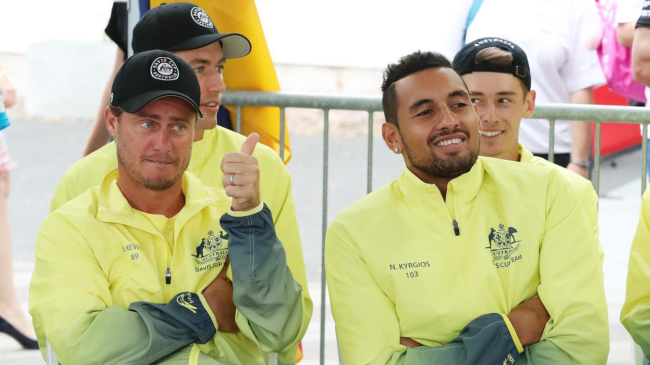 Lleyton Hewitt has praised Nick Kyrgios ahead of Australia's Davis Cup tie. Picture: Liam Kidston