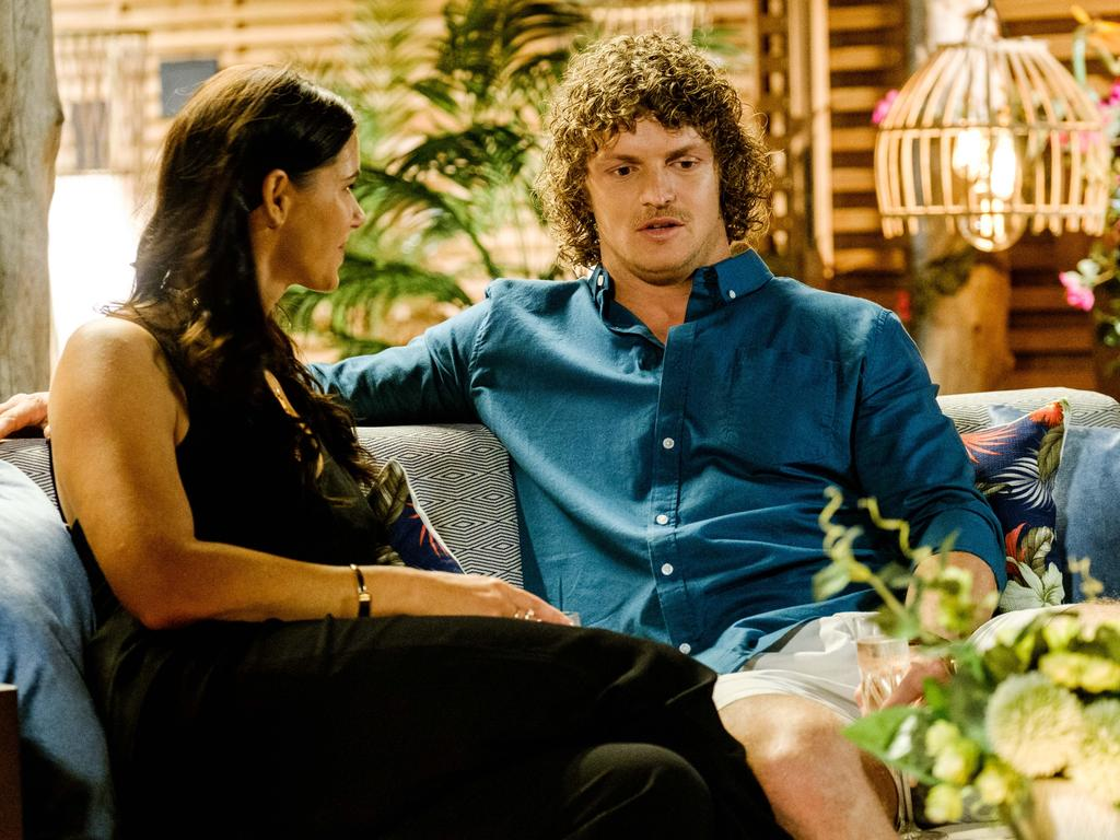 Nick Cummins as The Bachelor with Brittany Hockley. Picture: Channel 10