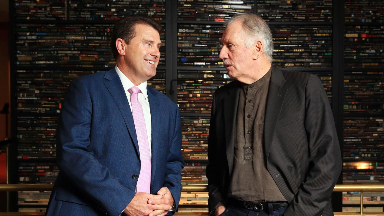 Mark Taylor (L) with fellow former Australian captain-turned-commentator Ian Chappell. Picture: Aaron Francis