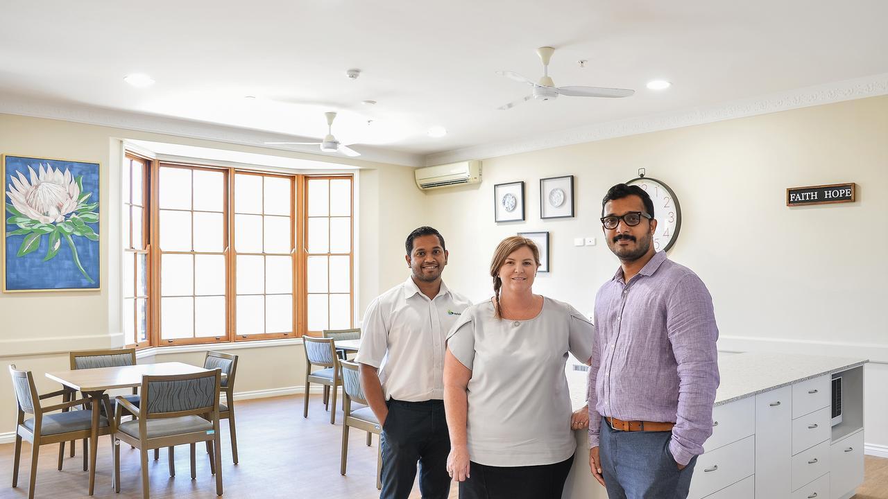 Steve James, Melanie Slattery and Tuttu Mathew in the refurbished Carinity Karinya Placeaged care community.