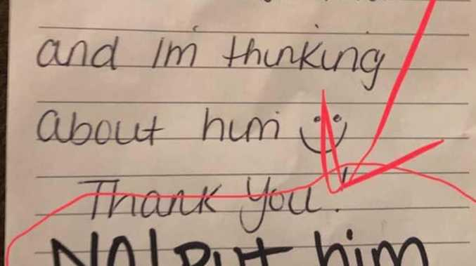 Disgust at 'horrible' note in boy's lunch box