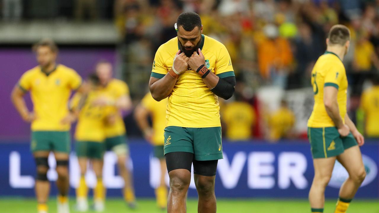 A dejected Samu Kerevi after Australia's quarter-final loss to England.Picture: Dan Mullan/Getty