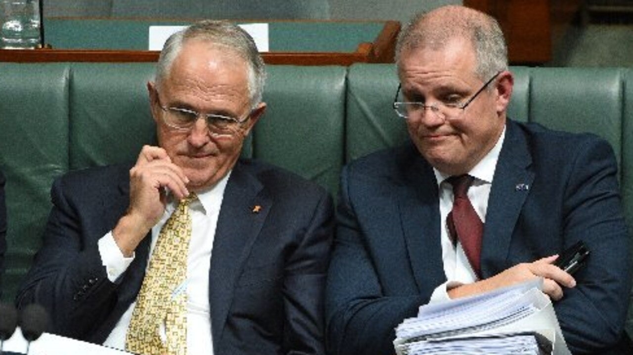 "Malcolm Turnbull when he was Prime Minister, picture with Scott Morrison whom he said many insurgents found ""even less palatable than me""."