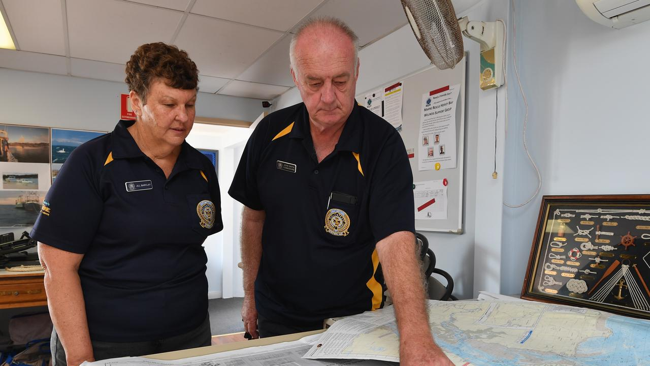 READY TO RESPOND: Commodore John Smith and Vice-Commodore Jill Barclay with maps of the region at VMR Hervey Bay. Photo: Alistair Brightman