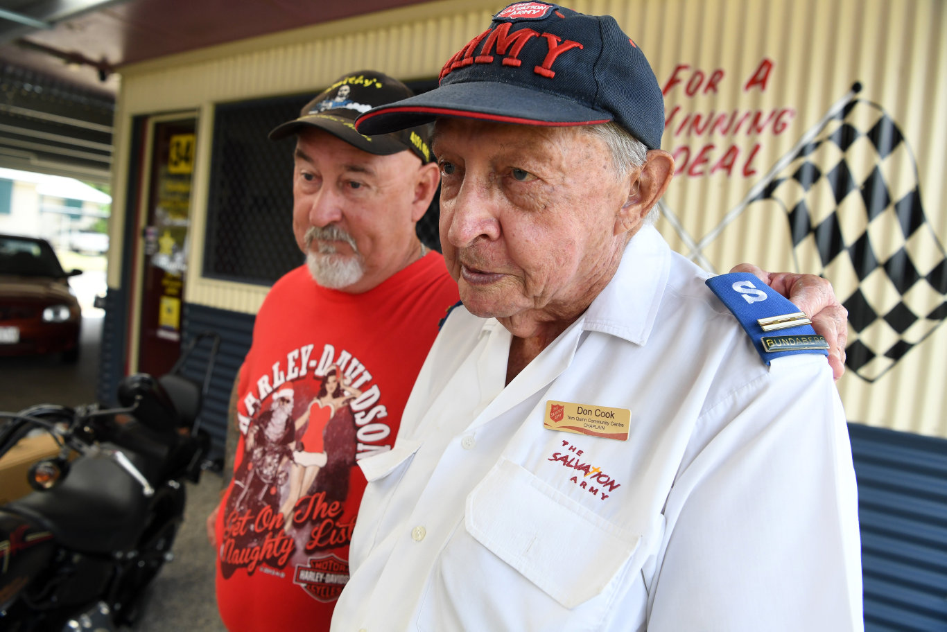 MOTORCYCLE TOY RUN: John Smithy Smith and Don Cook gearing up for last year's charity event.