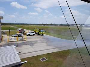 Aviation fire fighting truck in action