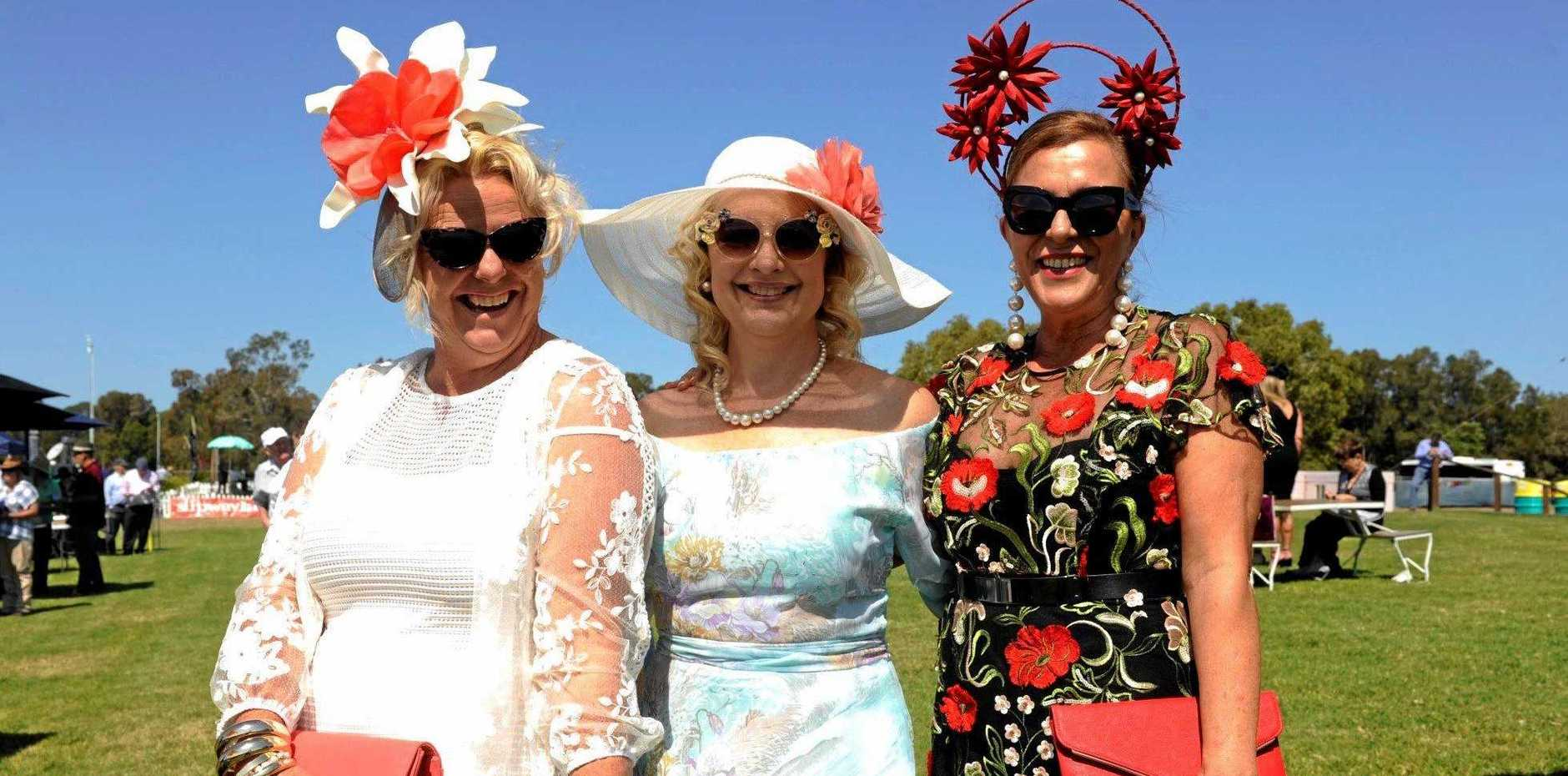 STYLE: Priscilla Dollery, Regan Vidler and Sally Monti at the Ballina Cup 2017.