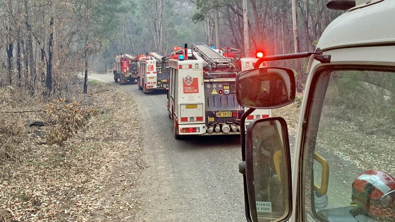 Fire and Rescue NSW crews heading to the fire at Myall Creek Rd, Bora Ridge which has burnt more than 17,000ha.