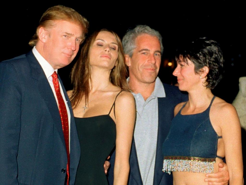 Donald Trump and his girlfriend (and future wife), former model Melania Knauss, financier (and future convicted sex offender) Jeffrey Epstein, and British socialite Ghislaine Maxwell pose together at the Mar-a-Lago club, Palm Beach, Florida, February 12, 2000. Picture: Davidoff Studios/Getty Images