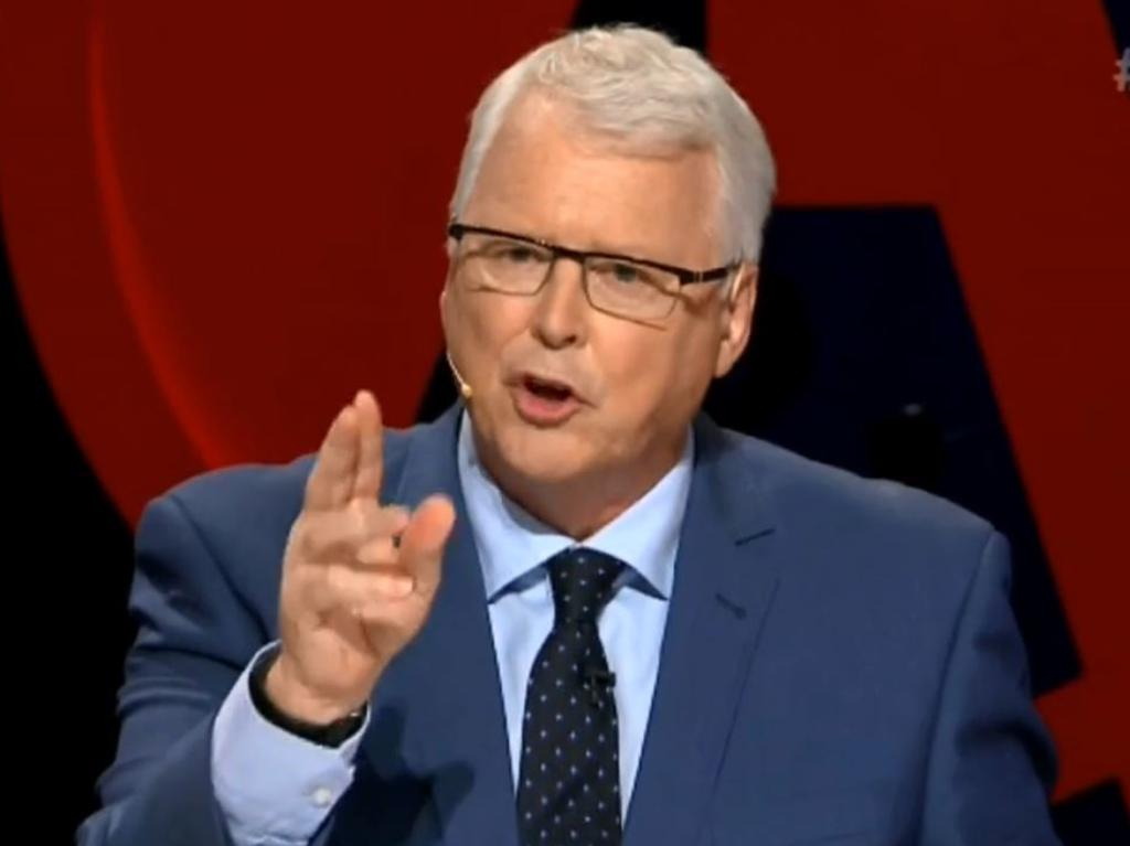 Tony Jones told the man to sit down and that no one could hear him so his interruption was 'pointless'. Picture: Q&A/ABC