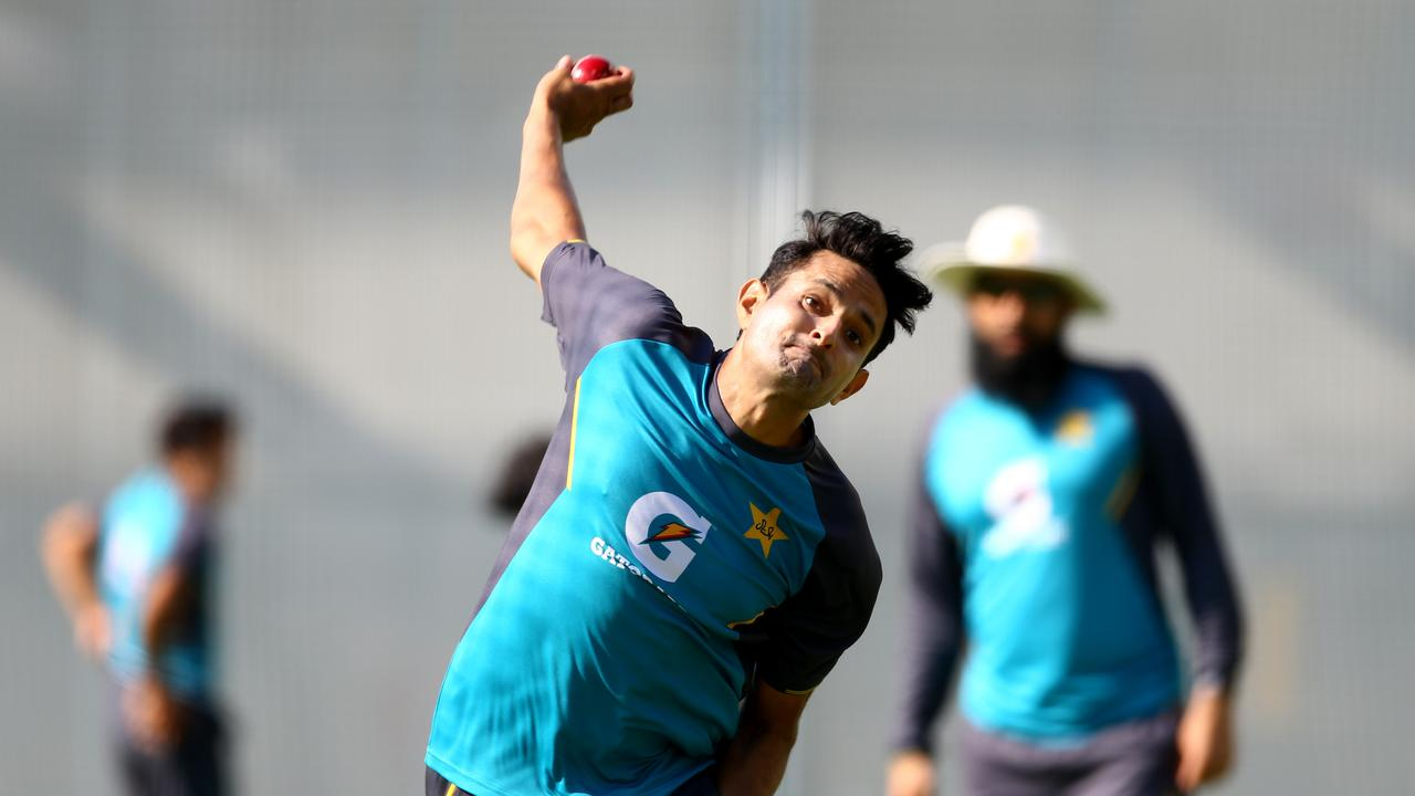 Pakistan paceman Mohammad Abbas sends down a short ball during training at the Gabba. Picture: AAP