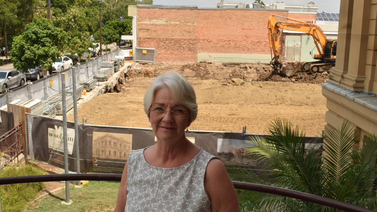 Mayor Margaret Strelow overlooks the foundations work undergoing at the newly named Rockhampton Museum of Art site.