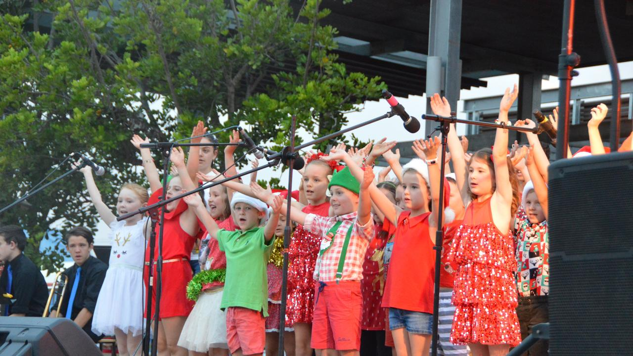 St John's Lutheran School students on stage at the Kingaroy Christmas carols 2018. Photo: Claudia Williams
