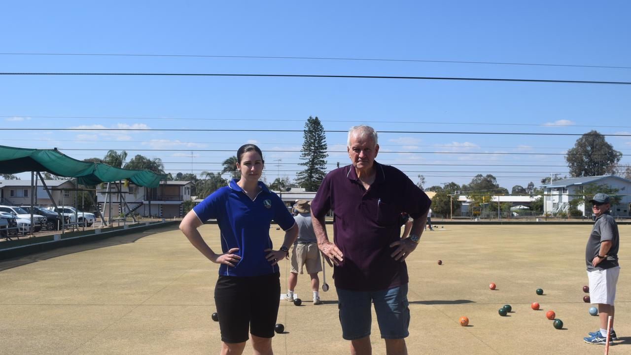 ROLLING ON: Biloela Bowls Club Management Committee Chairman Terry Daly (with Katie Muller Club Supervisor) believes that his venue is the best in town for functions and parties.