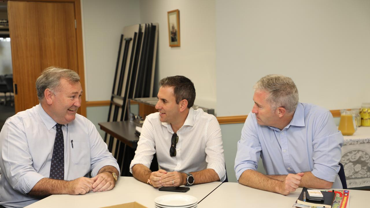Mayor Jack Demsey in conversation with Shadow Treasurer Jim Chalmers and Senator Anthony Chisholm