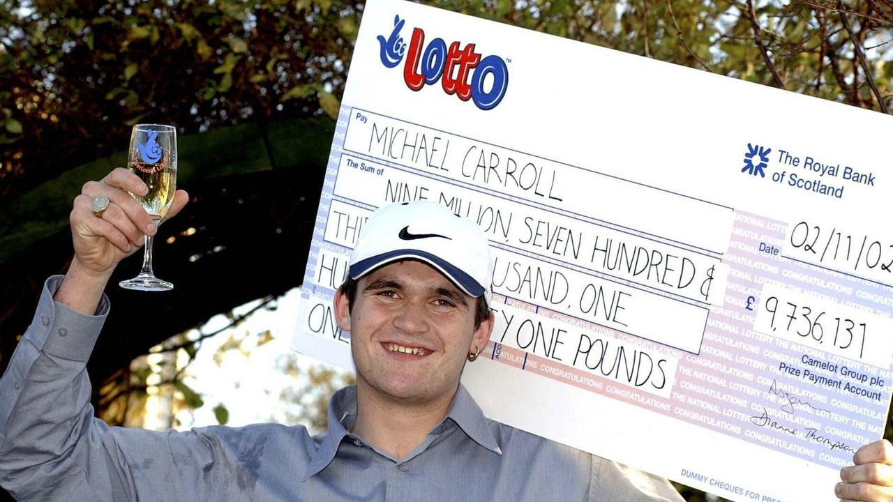 Michael Carroll won millions as a 19-year-old. Picture: AP Photo/National Lottery